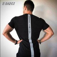 e-baihui 근육 체육관 티셔츠 보디 빌딩 통기성 블랙 짧은 소매 철자 컬러 문자 짧은 소매 Malet 셔츠 드롭 배송