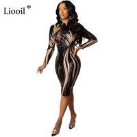 Lioooil Pullu Seksi Mesh Sheer Bodycon Midi Elbise 2020 Sonbahar Kış Uzun Kollu Sıkı Elbiseler Kadın Parti Gece Kulübü