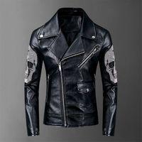 2019 New Fashion Autunno maschio Giacca in pelle stand Nero Marrone Mens collare di cuoio Coats Giacca in pelle motociclista giacche moto