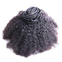 8pcs Afro Kinky Clip Curly dans des extensions de cheveux humains Noir Noir Mongol Remy Coiffeurs Coiffures Courtiers 100g Curly Clip dans les extensions de cheveux humains