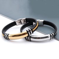 High Quality Titanium Stainless Steel Blank Bar Accessories Charm Silver/Gold Color Bracelet Silicone Bangle Man Gift Jewelry