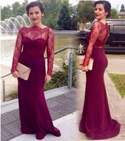 Burgundy Lace Mermaid celebrity Evening Dresses Boat Neck Sheer Long Sleeves Buttons Party Gowns Prom Dress Mother Of The Bride Dresses