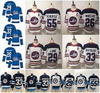 Nuevo 29 Patrik Laine Jersey Winnipeg Jets 26 Blake Wheeler 33 DustinbyFuglien 55 Mark Scheifele Blanco Hockey Jerseys