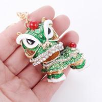 중국어 번체 다채로운 재미있는 팬시 사자 춤 키 체인 차이나 타운 해피 뉴 이어 파티 선물 지갑 가방 매력 키 체인 링 HYS05