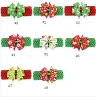 Yeşil / Kırmızı Renk Bebek Baş bandı ile Bow Kar Snomen Ağacı Eldiven Tasarım Elastik Saç Aksesuarları Moda Turbam Noel Başkanı Wrap