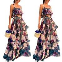 Blumenmuster der Frauen Zweiteilige Kleider Schärpen Ärmel Weibliche Kleider Set Elegante Damenmode New Arrival