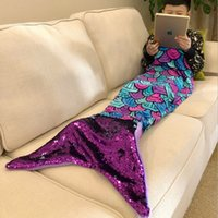 Mermaid Throw Coperta Handmade Magical Paillettes Tail Coperta per Bambini Flanella Sleeping Wrap Multi Colors Soft Throw Bed Bag