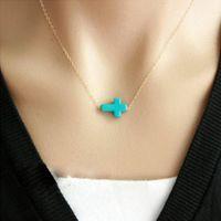 Женские ожерелья - Turquoise крест кулон ожерелье золото / серебро гальванического Простой Jewerly ожерелье Цепочка