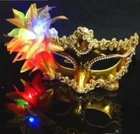Italia Nuovo Stile LED Venezia Maschere Lucenti Lampeggiante Principessa Maschera Maschera di Danza Maschera Placcatura Laterale Fiore Puntato Maschere Luminose Maschere Mascherate