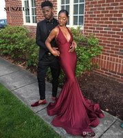 Prom Dresses 2019 Mermaid Burgundy Party Gowns Simple Long J...