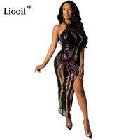 Повседневные платья Liooil Bandage Long Sequin платье женщины 2021 без рукавов бездёрный черный розовый золотой ночной клуб вечеринка сексуальный щелчок блеск
