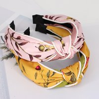 Floral Printed Fabric Top Knot Headband for women Cherry Pri...