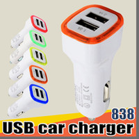 838 LED Dual Usb Car Charger Vehicle Portable Power Adapter 5V 2A 1A For Smartphone tablet pc smart phone