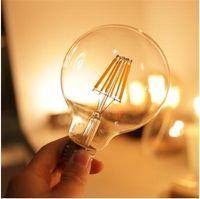 Edison LED Filament Ampoule G80 G95 G125 Big Global Light Ampoule 2W 4W 6W 8W Ampoule de filament E27 Lampe d'intérieur en verre clair AC220V