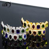 شخصية ريال 18K الذهب بلينغ الماس الأسنان الملونة GRILLZ مثلج خارج CZ الأسنان الشوايات مصاص الدماء الفم فانغ الشواية الهيب هوب مغني الراب مجوهرات