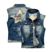 Erkek Moda Denim Mavi Yelek Vintage Fit Kolsuz Jeans Yelek Erkek Kovboy Ripped ceketler Tops Yıkanmış
