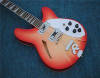 Ücretsiz kargo 6-dize elektro gitar, akçaağaç klavye ve abalone fret işaretleri kakma, sunburst renk gövdesi, beyaz ciltleme ve özelleştirilebilir