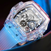 ONOLA 브랜드 디자이너 플라스틱 손목 시계 남성 2019 캐주얼 고유의 고급 석영 손목 시계 남성 사각 투명 흰색 스포츠 남성 시계