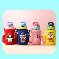 الأسهم 480 ملليلتر الكرتون الأطفال زجاجة المياه الفولاذ المقاوم للصدأ أطفال معزول في الهواء الطلق المحمولة الطفل الشرب كوب مع كم حامل FY4124