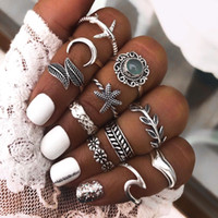Set de anillo de dedos de estilo boho de almacén de EE. UU. Conjunto de anillo de nudo de nudillo de piedra conjunta de piedra azul
