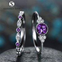 Nuovo arrivo cz anello diamante per le donne argento colorato rotondo anelli di fidanzamento set moda matrimonio Jewerly San Valentino regalo-y