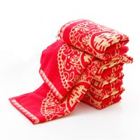 Manufacturers wholesale cotton wedding red towel groom bride...