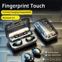F9-5 TWS 5.0 Auriculares Bluetooth inalámbrico de auriculares estéreo bajo 9D en la oreja los auriculares Estuche cargador auricular manos libres con micrófono