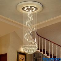 Lámparas de araña de cristal modernas luces colgantes de techo para Villa Penthouse Spiral Duplex Rotación LED K9 Cristal araña