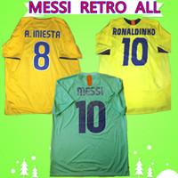 Barca Barcelona jersey 2010 2011 بعيدا الخضراء ميسي جيرسي 2008 2009 ريترو لكرة القدم جيرسي RONALDO 1996 1997 2005 2006 HENRY RONALDINHO الكلاسيكية خمر قميص كرة القدم