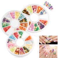 Toptan 3 Farklı Şekli Mix 12 Renkler Parlak Nail Art İpuçları Dekorasyon DIY Craft Gözler Çember Şekli Sequins