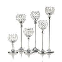Nuevo cristal titulares de vela candelero de metal soporte de cristal para la boda mesa de comedor centros de mesa de vacaciones decoración del regalo