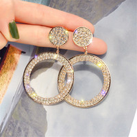 ساطع دائرة فاخرة قطرة هوب أقراط الدقة البطانة الذهب والفضة اللون حجر الراين القرط للنساء حفل زفاف مجوهرات