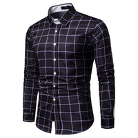 FeiTong Spring Shirt Of Men Long Sleeve Shirts Plaid Patchwo...