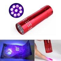 buon prezzo torcia UV Mini CREE Torcia a LED 395nm blacklight Lunghezza d'onda Luce viola UV 9 LED Flash Light Torcia Linterna Lampada in alluminio