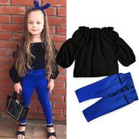 2019 Baby Mädchen Schulterfrei Outfits Set 2018 Herbst Frühling Kleidung Kinderhemd T-Shirt + Hosen Baumwolle Kleidung Kostüm Set Mädchen Kleidung