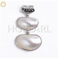 Two White Shell Beads Combination Pendant Natural Shell Jewe...