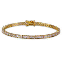 hip hop diamantes cuadrados de tenis Pulseras de cadena para hombres 21cm cadenas de 4 mm de pulsera de lujo de joyería de moda 18K plateó el cobre circones