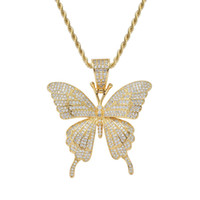 Hip Hop Gold Silver Animal Butterfly Necklace Pendant With R...