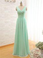 2020 New Mint Green Long Chiffon Bridesmaid Dress V Neck Cheap A Line Pleated Bridesmaid Dresses Under 100