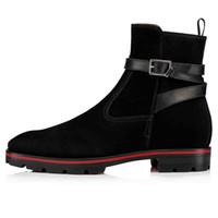 Осень Зима Марка 1,1 Kicko Croc Мужской обуви Red Bottom Ботильоны Man Rubber Lug Подошва черной замша способ загрузка