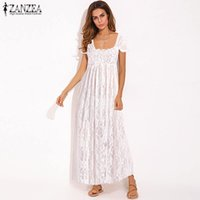 ZANZEA 2019 Summer Women Long Maxi Dress Ladies Sexy Lace Scava fuori Vestidos See-through Floral Dress Beach Sundress Plus Size