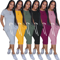 Women T-shirt Midi Dresses Solid Color Short Sleeve Mid_calf Dresses S-2XL Bodycon Summer Casual Clothing DHl Free 2930