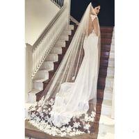 Best Selling Cheapest In Stock Long Chapel Length Bridal Veil Appliques 2019 Veu De Noiva Longo Wedding Veil Lace Purfle with Comb