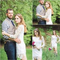 2020 NOUVEAU élégante de dentelle courte avec Long Longueur du genou Country Garden robe de mariée Robes de bal Livraison gratuite