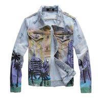 Nuovo Mens Giacca di jeans di moda autunno-inverno Slim Fit Denim giacche Fori abbigliamento in denim High Street cappotto caldo di vendita del rivestimento di Euro Versione M-4XL
