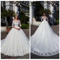 Bateau Half Sleeves A-Line Apliques de encaje Vestidos de novia Chapel Train Long Garden 2020 Vestidos de novia modestos