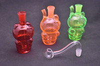 Мини Красный Желтый Зеленый кот стекла нефтяной вышке бом Переносной Cartoon воды стеклянные трубы масла горелки с чашей 10мм стекла масло для курения