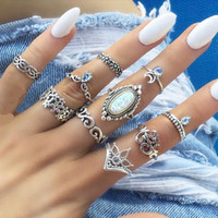 10pcs set Opal Ring Ancient Silver Flower Crown Moon Ring Se...