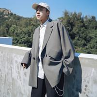 Ternos masculinos Blazers 2021 Lazer Lavagem Casacos Masculinos Única Roupa Ocidental Loose Algodão Alta Qualidade Outerwear 3 Cores Casacos M-XL