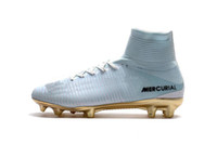 2019 New White Gold CR7 Soccer Cleats Mercurial Superfly FG ...
